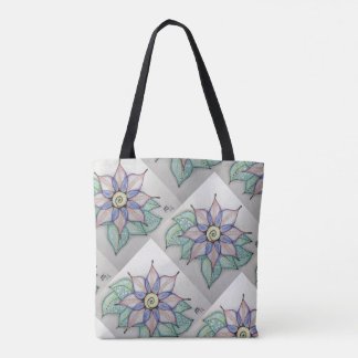 Flowered 2 Sided Tote Bag