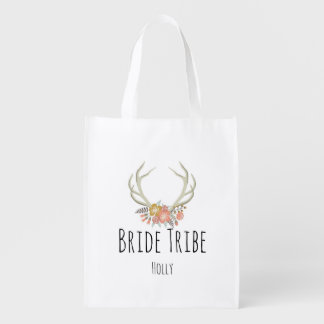 Flowered Antler-Reusable Bag Market Tote