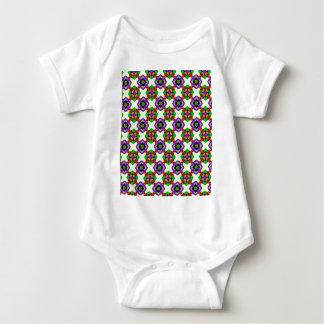 FLOWERED CHECK BABY BODYSUIT