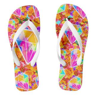 Flowered Diamond Collage Flip Flops