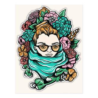 Flowered Girl Postcard