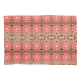 Flowered Pillow Cases in Pink Coral