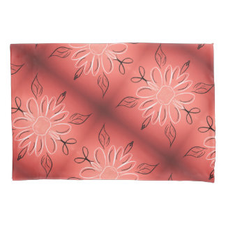 Flowered Pillow Cases With Coral