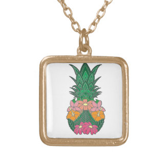 Flowered Pineapple Gold Plated Necklace