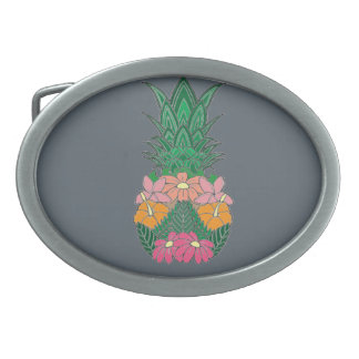 Flowered Pineapple Oval Belt Buckles