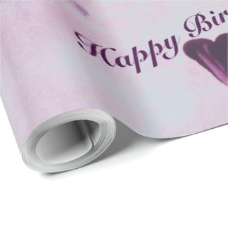 Flowered Purple Watercolor Gift Wrap With Hearts