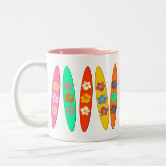 Flowered Surfboards Two-Tone Coffee Mug