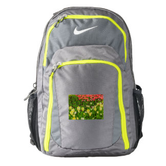 flowered  tulips in a park  nike backpack