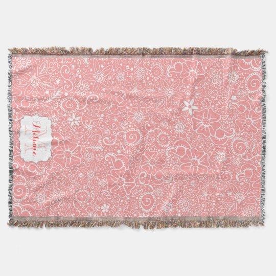 Flowerful Pink Custom Monogram Throw Blanket