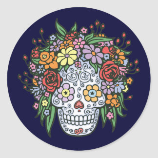 Flowerhair Sugar Skull Classic Round Sticker