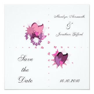"FlowerHearts 01 5.25"" Square Invitation Card"