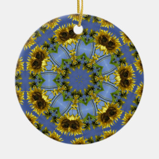 Flowering Abstract Sun Tunnel Round Ceramic Ornament