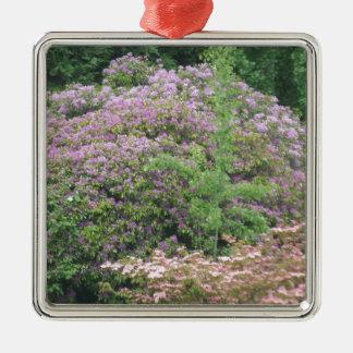 Flowering Bush Silver-Colored Square Ornament