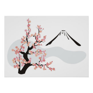 flowering cherry in front of Mt.Fuji Poster