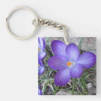 Flowering Crocus Garden Plant Double-Sided Square Acrylic Keychain