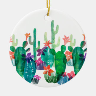 Flowering desert ceramic ornament