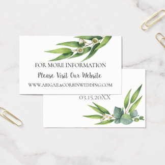 Flowering Eucalyptus Wedding Website Details Business Card