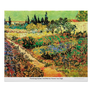Flowering Garden with Path by Vincent van Gogh Poster