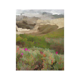 Flowering Iceplants by the Ocean Canvas Print