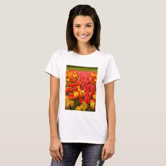 FLOWERING  OF TULIPS ON  WOMAN T-SHIRT