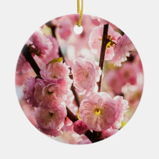 Flowering Plum - Pink Paradize Round Ceramic Ornament