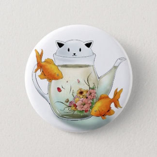 Flowering Tea in a Cat Teapot and Goldfish 2 Inch Round Button