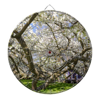 Flowering trees with white blossom in spring dartboard