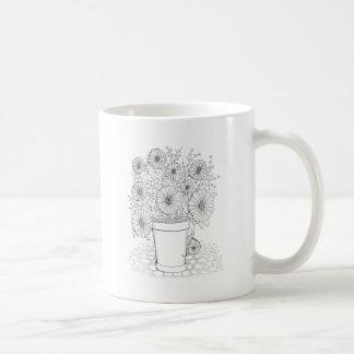 Flowerpot And Snail Line Art Design Coffee Mug