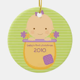 Flowerpot Baby's First Christmas Ornament