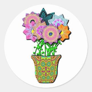 flowerpot round sticker