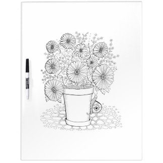 Flowerpot Snail Adult Coloring Dry Erase Whiteboards