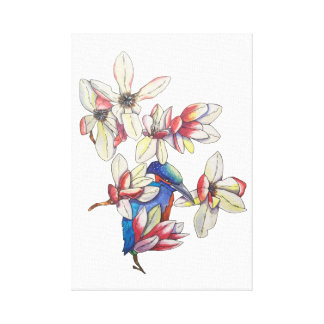flowers and a bird canvas print