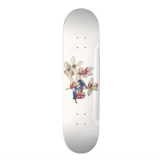 flowers and a bird skateboard decks