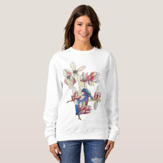flowers and a bird sweatshirt