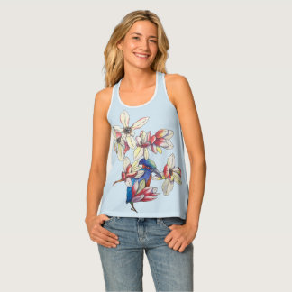 flowers and a bird tank top