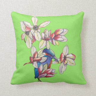 flowers and a bird throw pillow