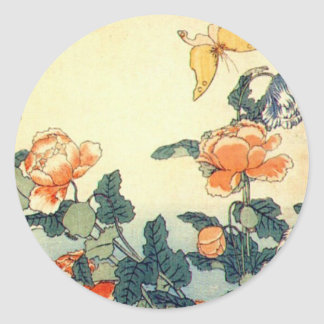 Flowers and a Butterfly Classic Round Sticker