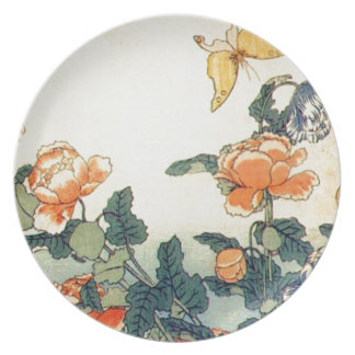Flowers and a Butterfly Plate