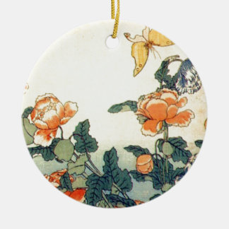 Flowers and a Butterfly Round Ceramic Ornament