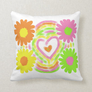 Flowers and a Heart Throw Pillow