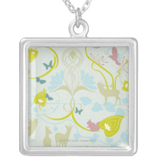 Flowers and Animals Silver Plated Necklace