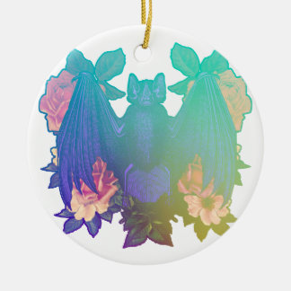 Flowers and bats ceramic ornament