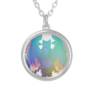 Flowers and bats silver plated necklace