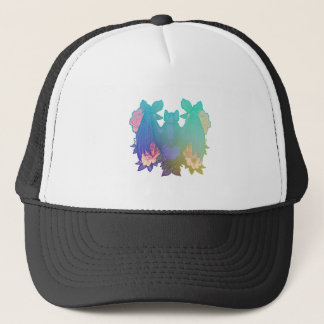 Flowers and bats trucker hat