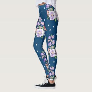 flowers and bird leggings