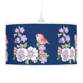 flowers and bird pendant lamp