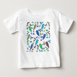 Flowers and birds - blue baby T-Shirt
