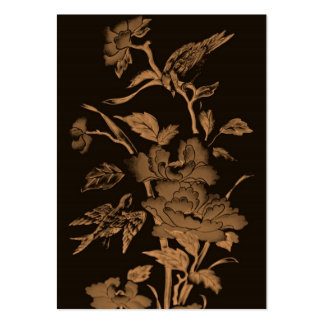 Flowers and Birds,Graphic Design Brown,Ochre,Sepia Large Business Card