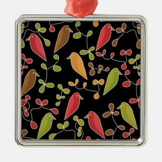 Flowers and birds Silver-Colored square ornament