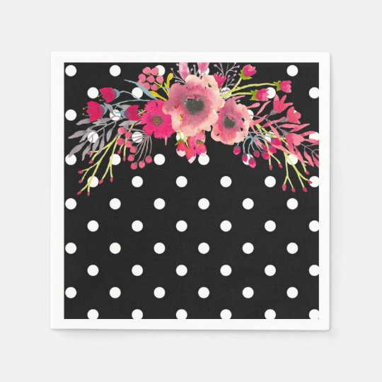 Flowers and black and white polka dot glamour disposable napkins